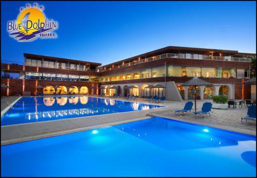 Χαλκιδικη στο παραθαλασσιο 4* Blue Dolphin Hotel με 115€ ανα διανυκτερευση με Ημιδιατροφη σε δικλινο δωματιο η με 123€ σε Superior δικλινο για 2 ενηλικες και 1 παιδι εως 12 ετων! 90' δωρεαν χρηση του Spa (σαουνα, χαμαμ, τζακουζι) για καθε ενηλικα! Kαθημερινα πλουσιο πρωινο και δειπνο σε μπουφε! Παρεχεται Early check-in / late check-out! Mini Club για καθημερινη απασχοληση παιδιων με πλουσιο προγραμμα δραστηριοτητων απο διασκεδαστες. Διατιθεται παιδικη πισινα και παιδικη χαρα! Καθε βραδυ για τους μικρους μας φιλους παρτυ στη Mini Disco, ενα προγραμμα ειδικα σχεδιασμενο για παιδια με πολλη μουσικη και διασκεδαστικα παιχνιδια! Η προσφορα ισχυει για διαμονη απο 27/08 εως 31/08