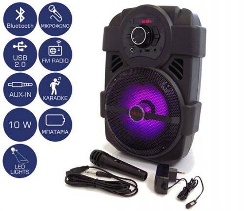 Φορητο Ηχειο Bluetooth με LED και Μικροφωνο 10W AKAI ABTS-808L