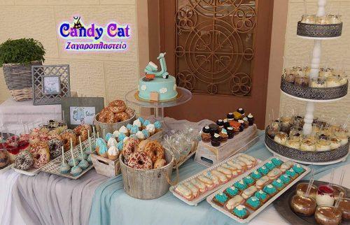 Απο 169€ για μοναδικα πακετα βαπτισης Candy Bar με στολισμο απο το εργαστηριο ζαχαροπλαστικης ''Candy Cat'' στο Αιγαλεω